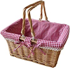 SWZJJ Picnic Basket, Woven Natural Wicker Basket with Double Handles and Cloth Lining for Food Sundry Container Fruit Storage