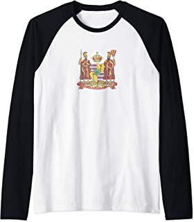 Hawaii Monarchy Coat of Arms - Vintage Distressed Raglan Baseball Tee