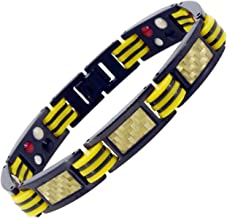 Mandala Crafts Mens Black Titanium Magnetic Bracelet, Wristband Jewelry Gift