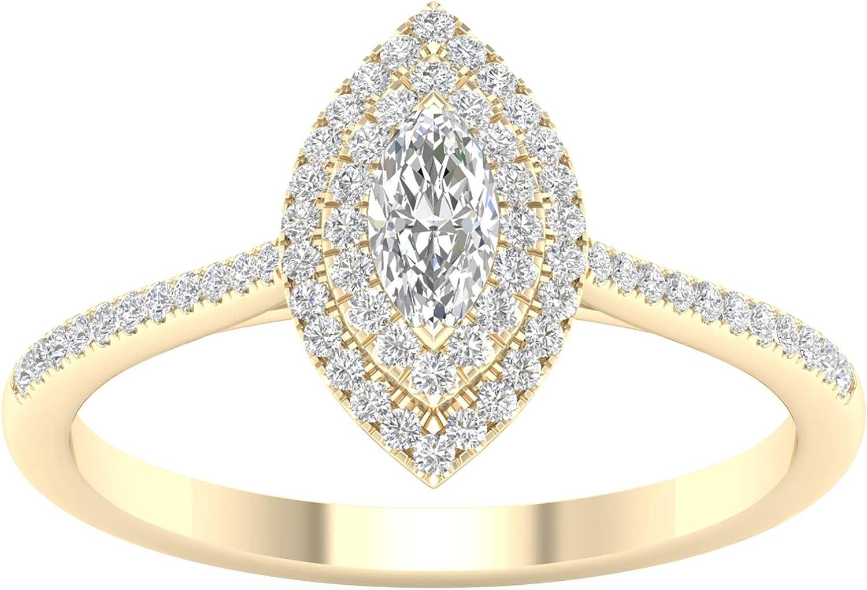 IGI Certified 1 3ct-1ct Fees free TDW High order DOUBLE Engagem Halo Marquise Diamond