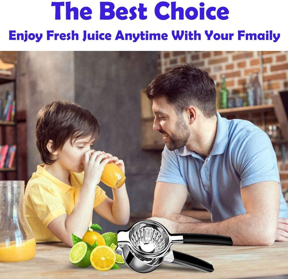 Citrus Press with 3.34 Inch Large Bowl and Black Silicone Handle Big Lemons /& Limes Perfect for Juicing Oranges Manual Juicer for Lemons Limes Citrus Oranges Lemon Squeezer Stainless Steel