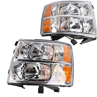 2PC Driver & Passenger Headlights Headlamps Set Replacement Compatible with Chevrolet 2007 2008 2009 2010 2011 2012 2013 Silverado 1500 / Silverado 3500 & 2007-2014 Silverado 2500 HD/Silverado 3500 HD