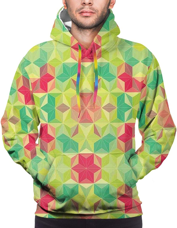 TENJONE Men's Hoodies Sweatshirts,Fractal Lines with Diagonal Geometric Angled Repeating Pattern Artistic Display
