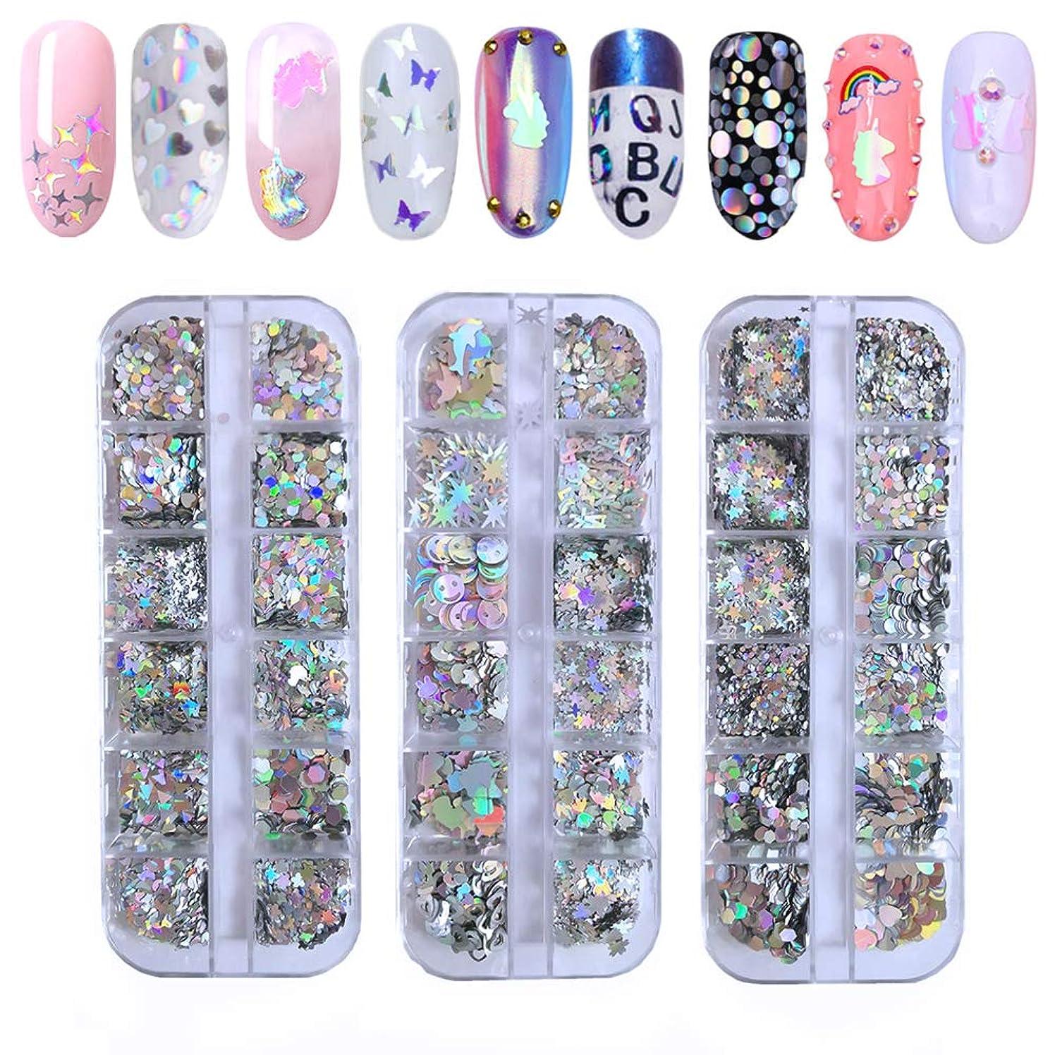 バトルお誕生日中国Kalolary 24色ホログラフィックネイルレインボーカラースパンコール ネイルグリッター DIYネイルアートフラッシュ装飾(2箱)