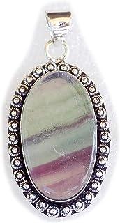 Fluorite Pendant, Silver Plated Brass Pendant, Handmade Pendant, Gift Jewelry, Women Jewellry, Fashion Jewellry, BRS-12346