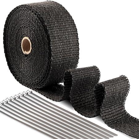 Bande Isolant Thermique Céramique pour Tuyeau Manifold Noir + 10 attaches de câble en Acier Inoxydable