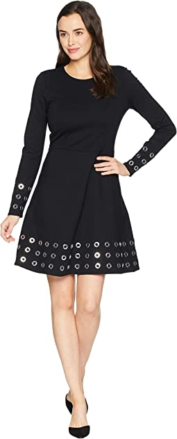 Grommet Embellished Flare Dress