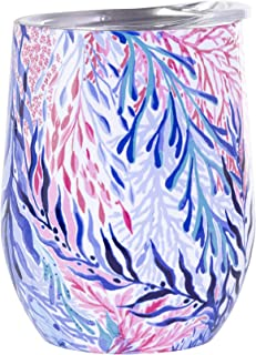 Lilly Pulitzer Stainless Steel Wine Glass with Lid, Holds 12 Ounces, Kaleidoscope Coral