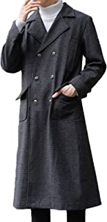 YMXYMM Mens Wool Coat Long,Double Breasted Overcoat,Lapel Collar Woolen Coat For Autumn And Winter,Business Casual Long Tr...