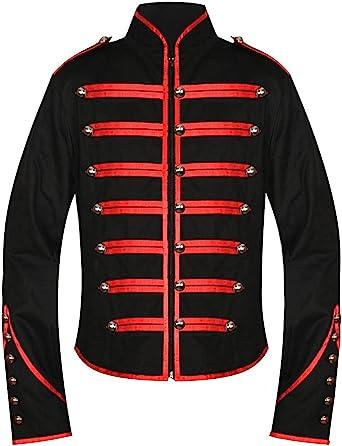 Hombres de la única gótico rojo Steampunk negro desfile Militar Marching Band Drummer chaqueta fangbanger Punk Emo