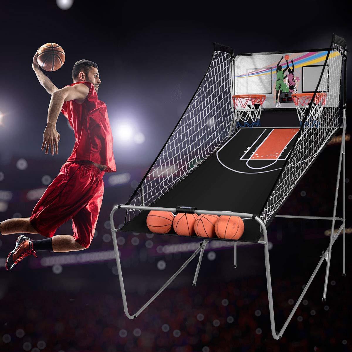 COSTWAY Juego de Canastas Plegable Máquina de Baloncesto Juguete Contador Electrónico con Soporete Red Cesta de Baloncesto 4 Baloncestos: Amazon.es: Deportes y aire libre
