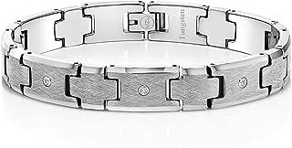 Men's Diamond Cross Satin Finish Tungsten Bracelet with 3 Round Brilliant Diamonds