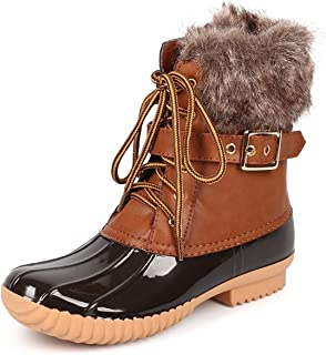 Duck-01 Women's Chic Lace Up Buckled Duck Waterproof Snow Boots