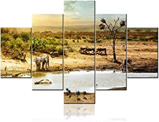 5 Piece Wall Art Decor for Living Room-South African Safari Wildlife Animals Together At Sunset Painting Giclee Prints Landscape Pictures Pond Poster Canvas Art Wall Decor Modern Framed - 60
