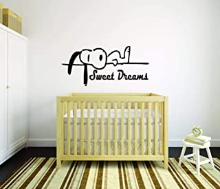 SNOOPY WALL DECALS GOOD NIGHT SLEEP BED TIME Decal Charlie Brown Cartoon Character Vinyl Art Stickers for toddler, baby, kids rooms bedrooms decor decoration for nursery Size10x30 inch