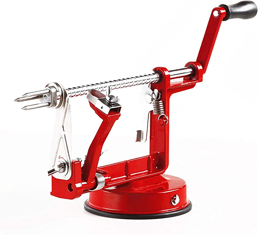 Durable Heavy Duty 3 In 1 Apple Peeler Fruit Slicer With Vacuum Suction Cup Base Peeler Stainless Steel Blade Apple Fruit Vegetable Or Potato Peeler Tool Creative Home Kitchen Red