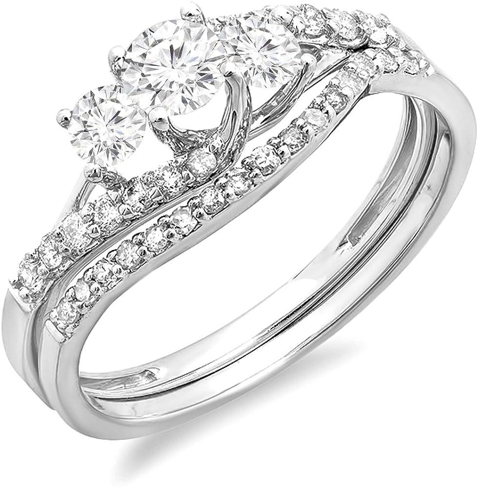 Dazzlingrock Collection 0.75 Carat (ctw) 14K Round Diamond Ladies 3 Stone Bridal Engagement Ring Band Set 3/4 CT, White Gold
