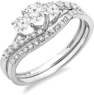 Sponsored Ad - Dazzlingrock Collection 0.75 Carat (ctw) 14K Round Diamond Ladies 3 Stone Bridal Engagement Ring Band Set ...