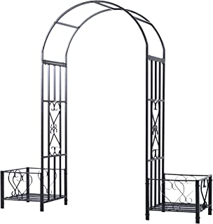 Outsunny Decorative Metal Backyard Garden Arch with Planter Boxes