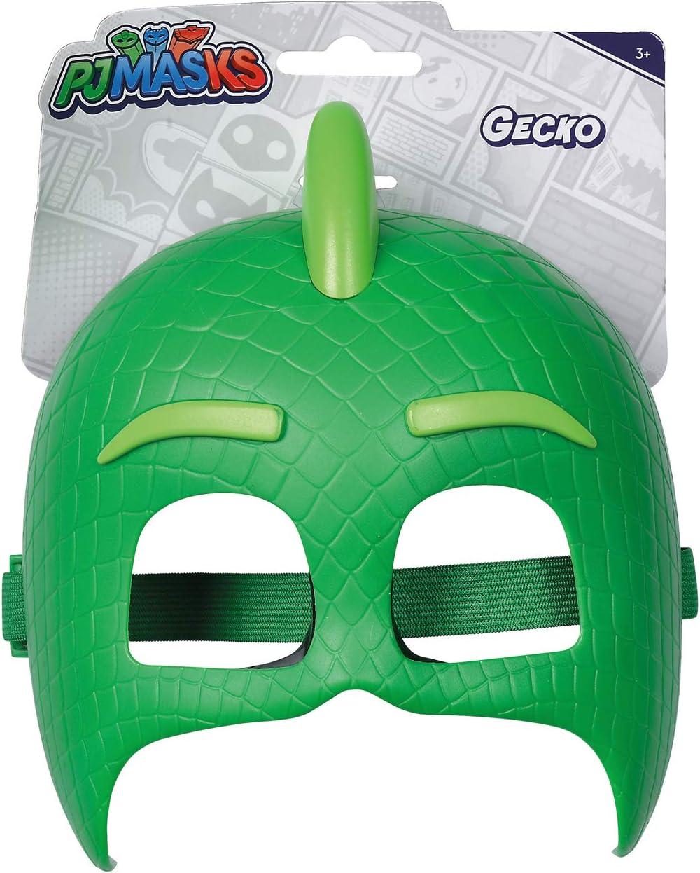 Simba PJ Masks 109402091 - Máscara de Gecko con Banda elástica para Disfraz, Color Verde, 20 cm, para niños a Partir de 3 años