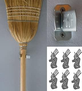 6 Metal Spring Grip Clamps Garage Closet Wall Organizer for Brooms, Mops, Rakes, Etc. (6 Pack)