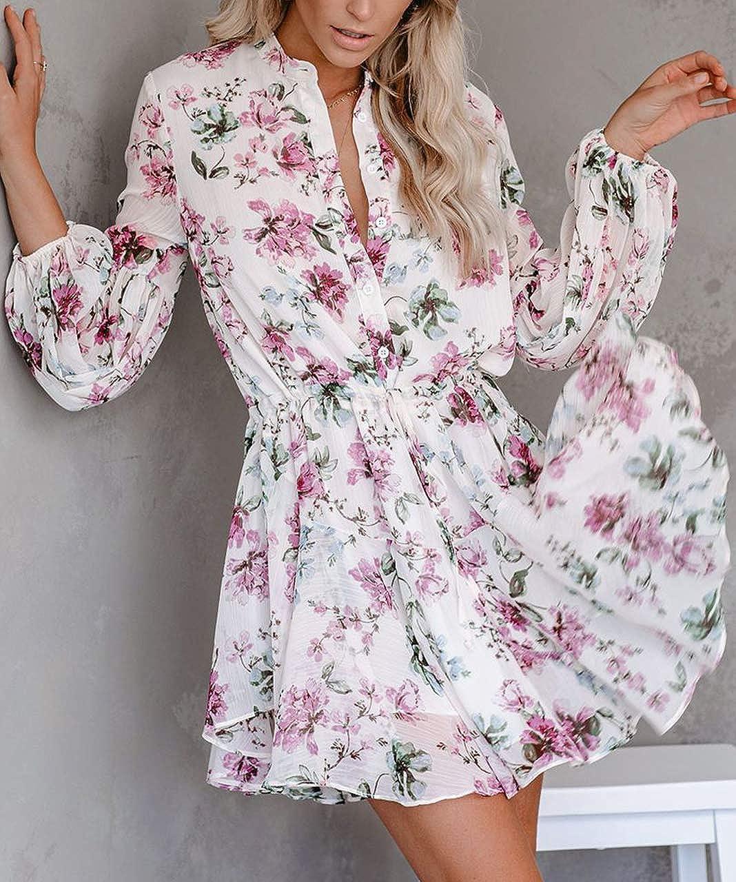 ROVLET Womens Floral Boho V-Neck Button Down Long Sleeve Ruffle Elastic Waist Printed Mini Dress Beach Sundress