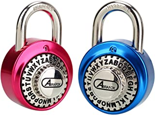 ABRAFOX 2-Pack Standard Dial Combination Lock Heavy Duty Word Padlock for School, Employee, Gym & Sports Locker, Case, Toolbox, Fence
