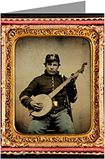 1 Vintage Greeting Cards of Union soldier in cavalry uniform with banjo, sword, and pipe from the Civil War