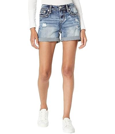 Miss Me Flap Pocket Mid-Rise Shorts in Dark Blue