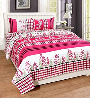 Amrange Glace Cotton 1 Double bedsheet with 2 Pillows Cover Colour-Multi by Amrange