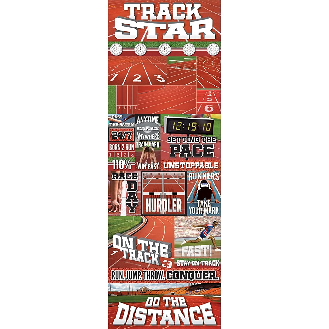 Colonial Needle RS-CSTK-179 Real Sport Die-Cut Cardstock Stickers, 4.25 by 13-Inch, Track Graphic