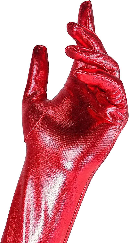 Luwint 20-Inch Women Shiny Wet Look Long Gloves for Wedding Opera Costume