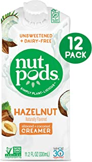 nutpods Dairy-Free Hazelnut Creamer, Unsweetened, Whole30 Approved, 12 Pack