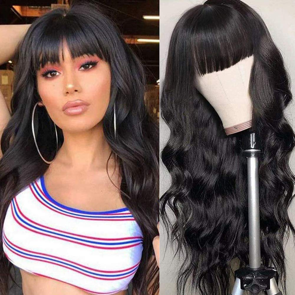 Mureen Surprise price Hair Brazilian Max 75% OFF Body Wave Human None Wigs With Bangs