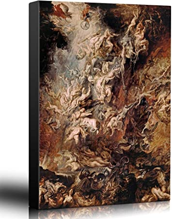 Amazon Com Oil Painting Of Fall Of The Rebel Angels By Peter Paul Rubens Baroque Style Hell Heaven Catholic Christianity Stretched Framed Ready To Hang 12x18 Inches Paintings