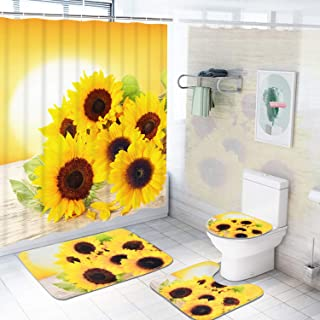 Sunflowers Shower Curtain Sets with Non-Slip Rugs, Toilet Lid Cover and Bath Mat, Flower in The Sunset Shower Curtains with 12 Hooks, Durable Waterproof Bath Curtain