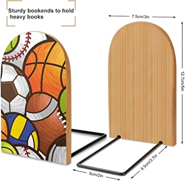 Basketball American Football Soccer Volleyball Baseball Decorative Bookends for Shelves Wooden Book Ends Organizer Print Book