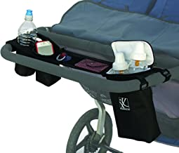 J.L. Childress DoubleCOOL, Double-Wide Insulated Stroller Accessory Organizer and Storage, Includes Cupholder, Zipper Compartments, Mesh Pockets, and Cooler, Black