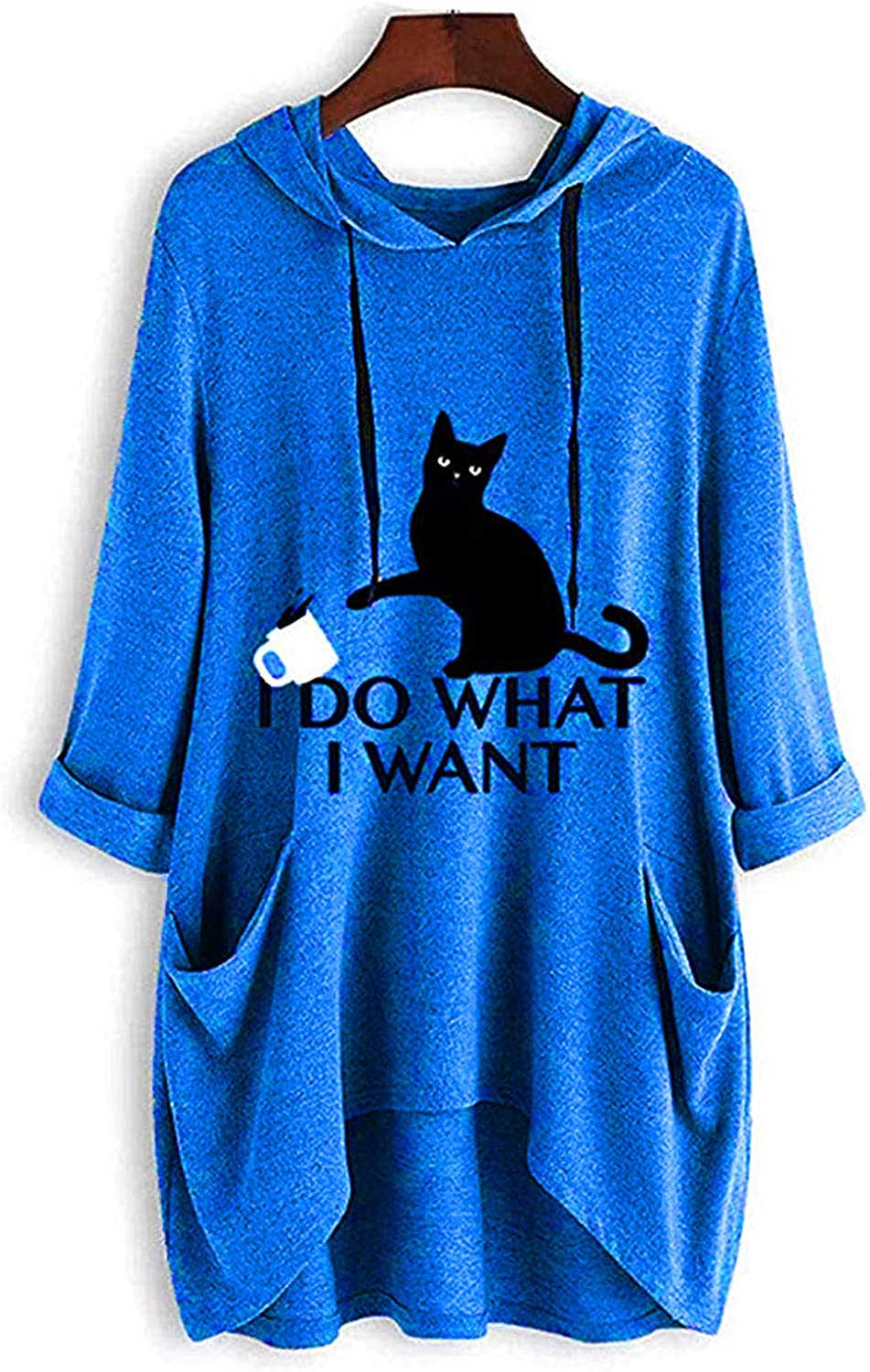 Women's Long Sleeve Hoodies I Do What I Want Letter Print Sweatshirt Pullover for Teens Girls with Cat Ear and Pocket