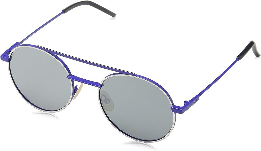 Fendi, occhiali da sole rotondi da uomo, montatura in metallo blu, lenti color argento 0221/S
