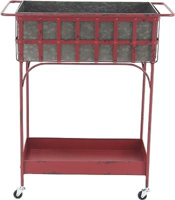 "Deco 79 86942 Farmhouse Metal Planter Cart, 16"" W x 32"" H, Red, Gray, Black"