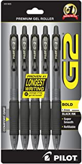 PILOT G2 Premium Refillable & Retractable Rolling Ball Gel Pens, Bold Point, Black Ink, 5-Pack (31303)