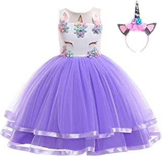 Princess Dresses for Girls Unicorn Costume Flower Pageant Dress 2-10 Years