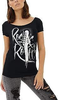 trueprodigy Casual Mujer Marca Camiseta Estampado Ropa Retro Vintage Rock Vestir Moda Cuello Redondo Manga Corta Slim Fit Designer Cool Urban Fashion T-Shirt