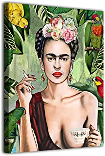 Wall Art Frida Kahlo Canvas Prints Poster Smoke Girl Picutre Stretched and Framed Ready to Hang for Bathroom Living Room B...