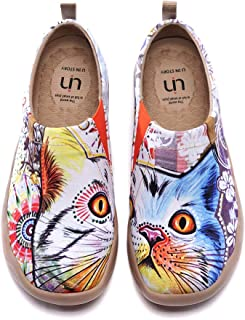 UIN Loafers Women Shoes Cat Design Women Flats Shoes Round Toe Slip-on Breathable Outdoor Walking Shoe Ladies Deck Shoes Espradrille Fashion Sneakers