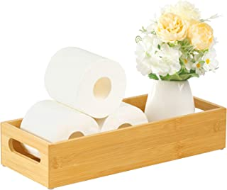 Vitviti Toilet Paper Storage, Bamboo Tray with Handles, Toilet Tissue Holder Organizer Box, for Bathroom/Toilet Tank/Kitch...