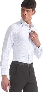 Arrow Men's Checkered Regular Fit Formal Shirt, Blue