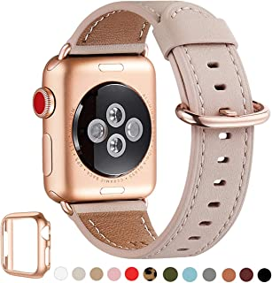 WFEAGL Compatible iWatch Band 40mm 38mm, Top Grain Leather Band with Gold Adapter(Same as Series 5/4/3 with Gold Aluminum Case in Color) for iWatch Series 5 /4/3/2/1(Pink Sand Band+Rosegold Adapter)