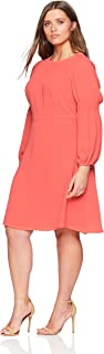 Women's Plus Size Smocked Long Sleeve Fit and Flare Dress